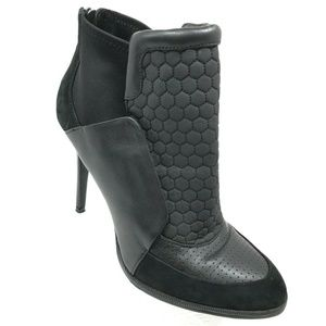 L.A.M.B Black Leather Ankle Bootie Heel Boots